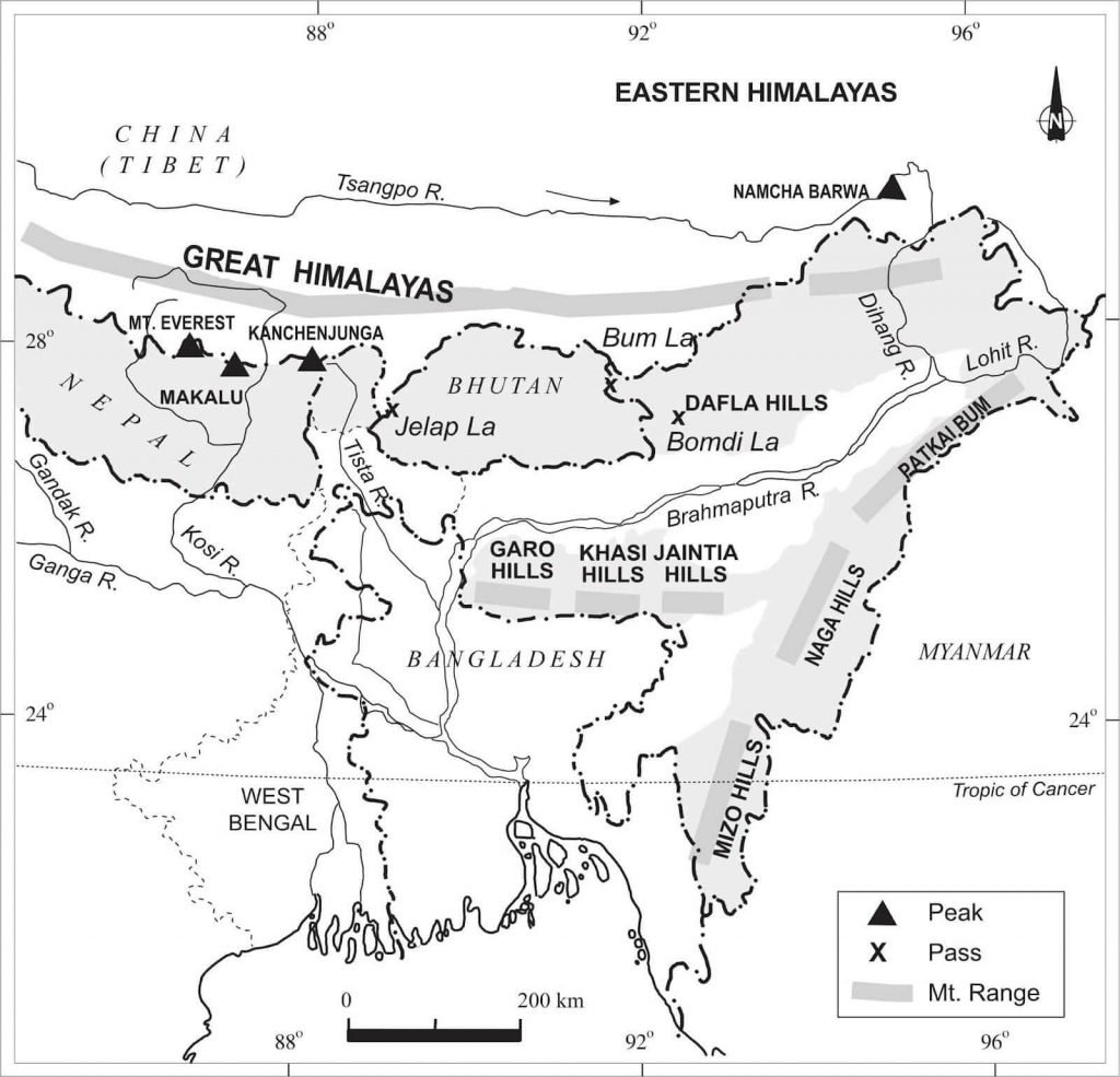 Eastern Himalayas Map - Physiographic division of India