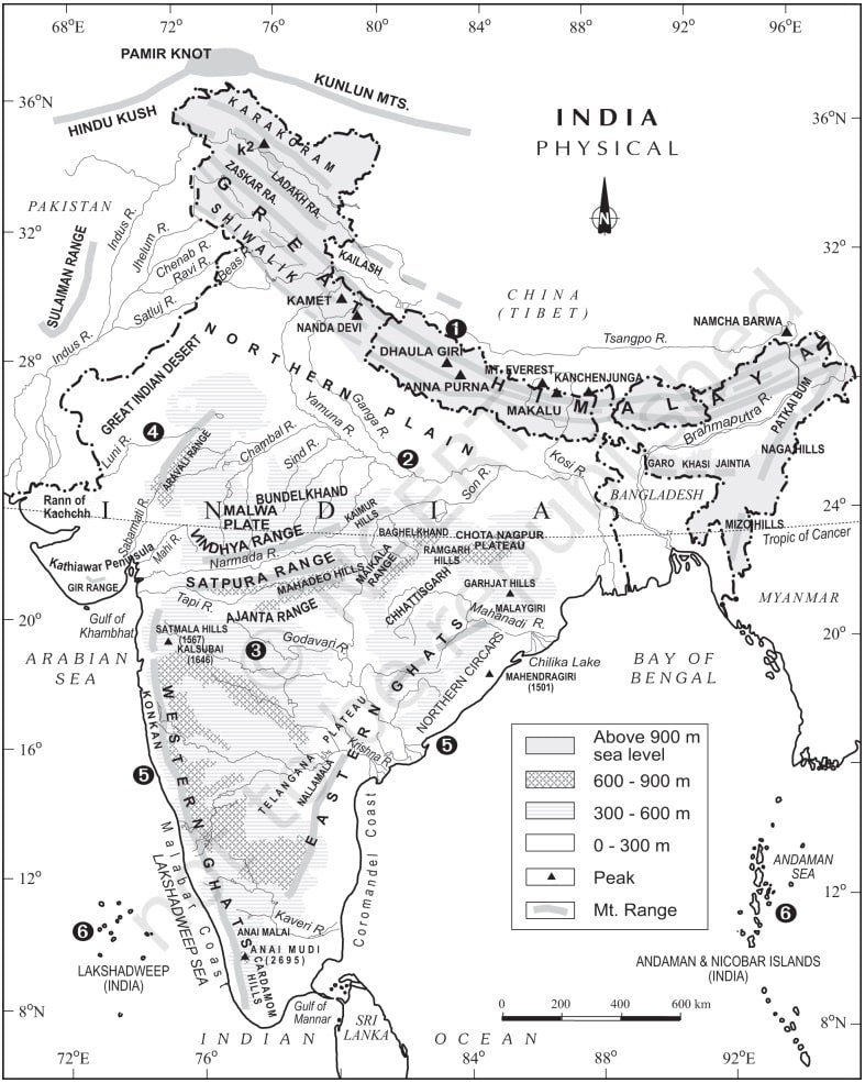Physical division of India map